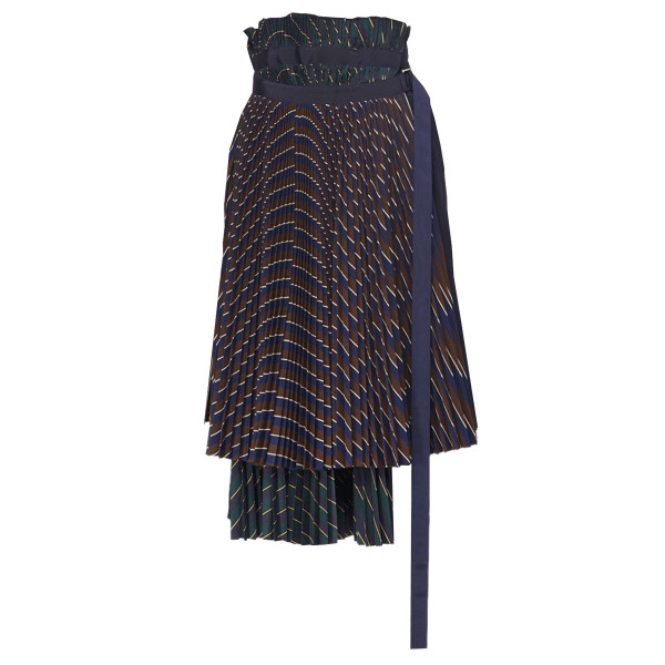 Sacai mixed pinstripe pleated midi wrap skirt
