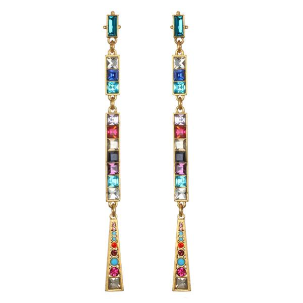 Sequin rainbow mosaic drop earrings