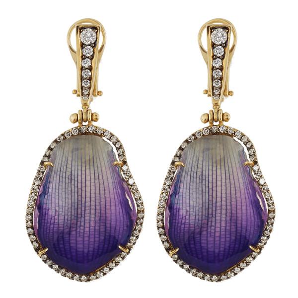 Silvia furmanovich 18k diamond   resin coated orchid petal drop earrings