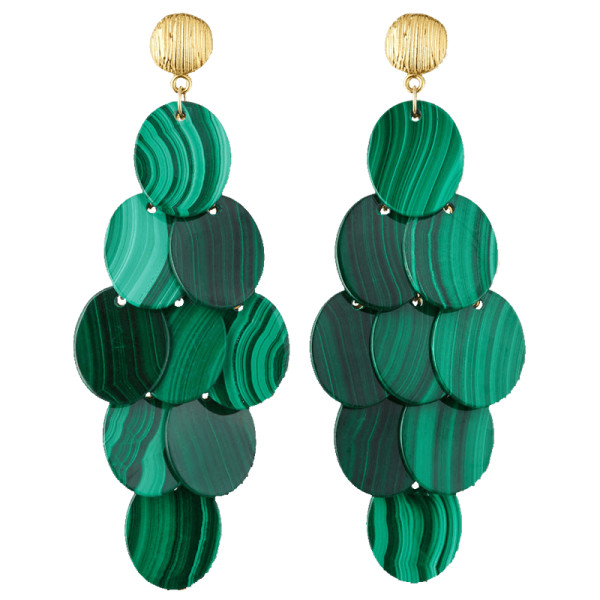 Nest jewelry malachite cluster statement earrings
