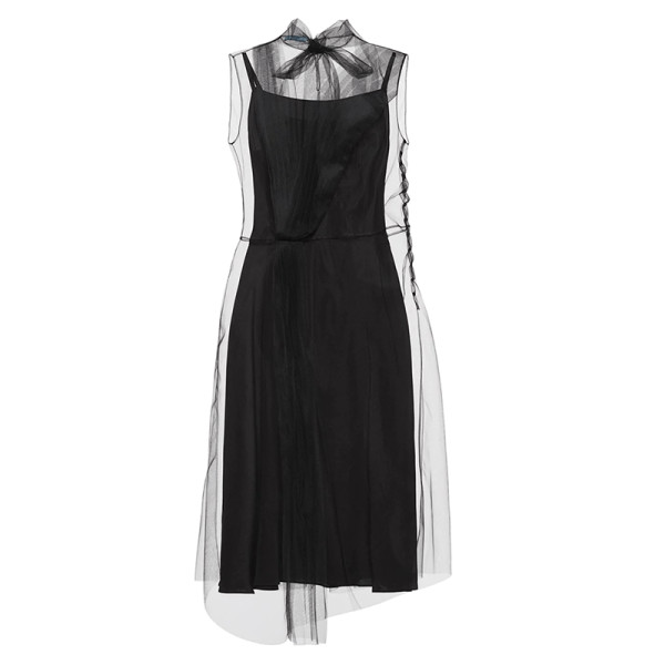 Prada sleeveless tulle asymmetric hem midi length dress