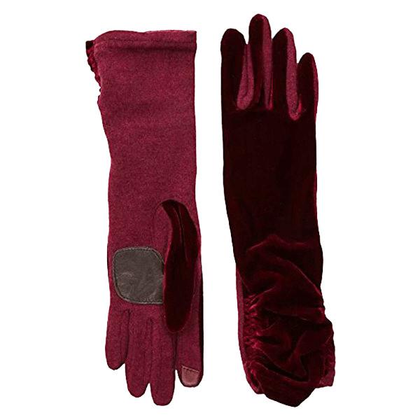 Echo design long classic velvet gloves