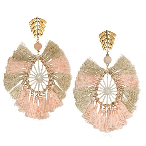 Sequin raffia statement tassel earrings