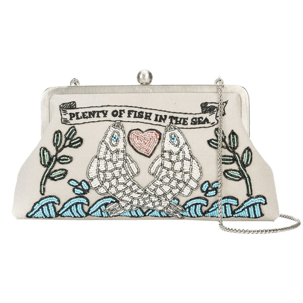 Sarah s bag plenty of fish embroidered clutch