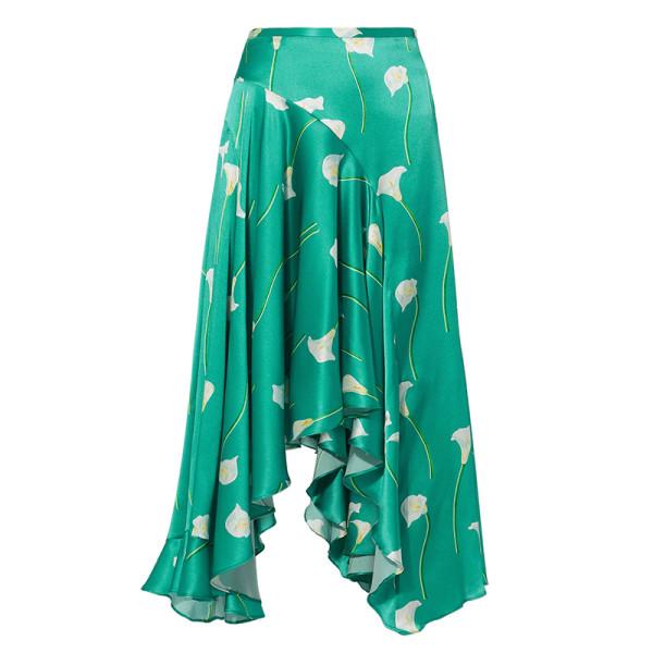 Caroline constas calla lilly flounced midi skirt
