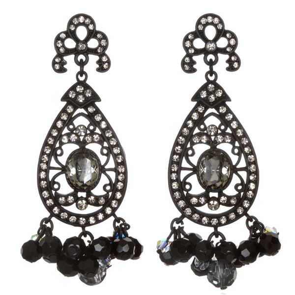 Sequin black victorian lace drop earrings