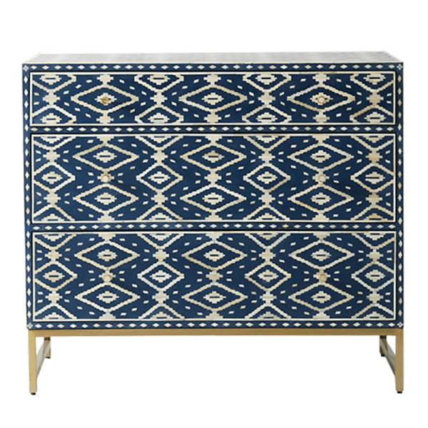 Anthropologie ikat inlay three drawer dresser