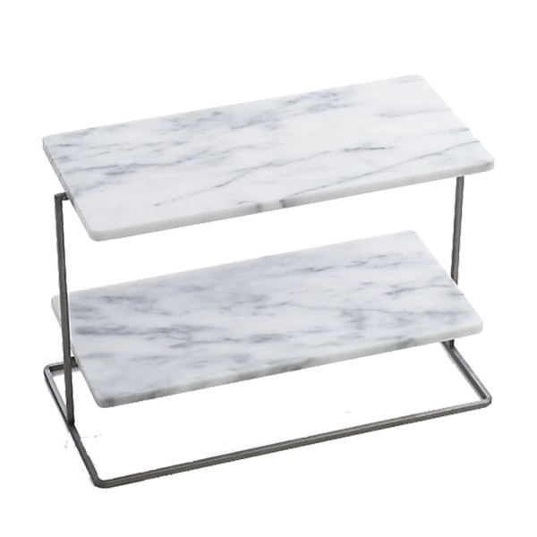 Crate and barrel french kitchen marble 2 tier server