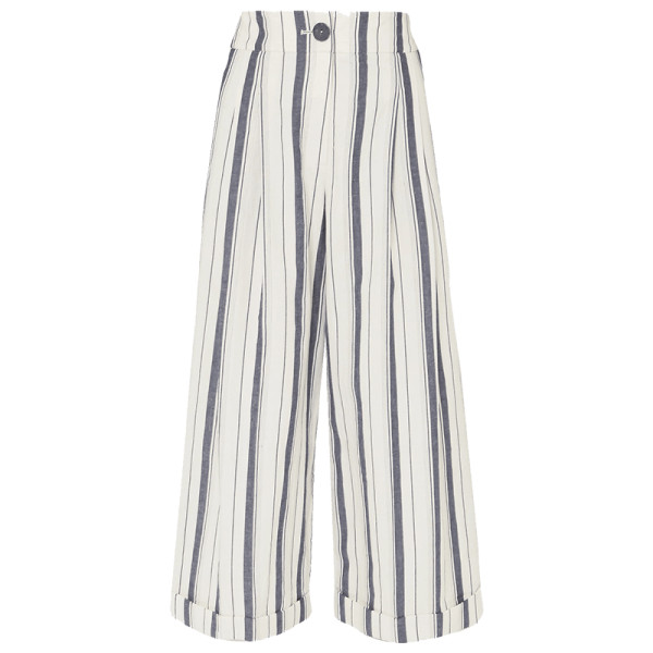 Rejina pyo dylan cropped striped wide leg cotton chambray pants