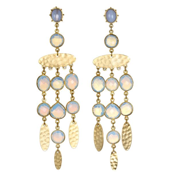Sequin opal gypset chandelier earrings