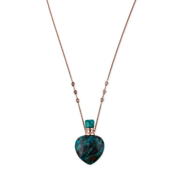 Jacquie aiche turquoise heart potion bottle necklace with diamonds