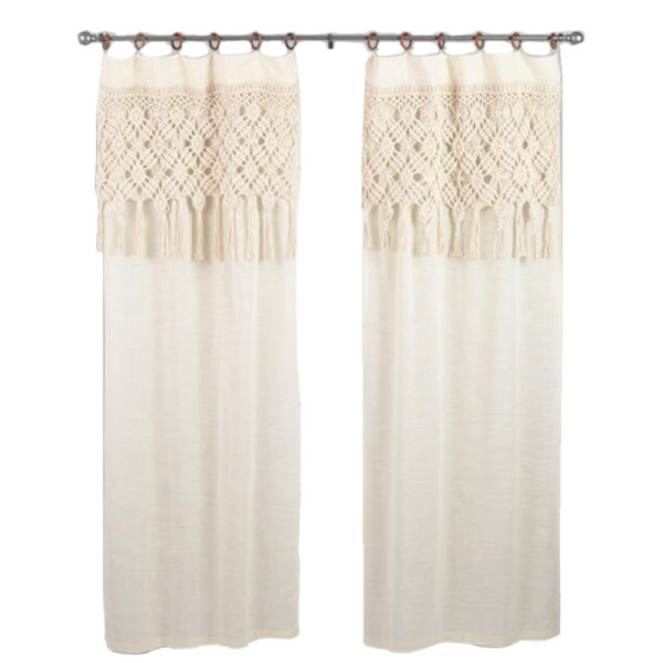 World market macrame curtains with removable wood rings set of 2