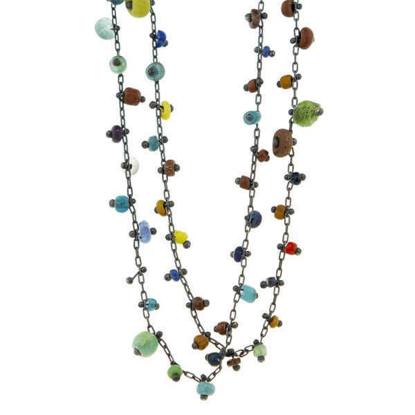 Ten thousand things unique multi colored ancient beaded necklace