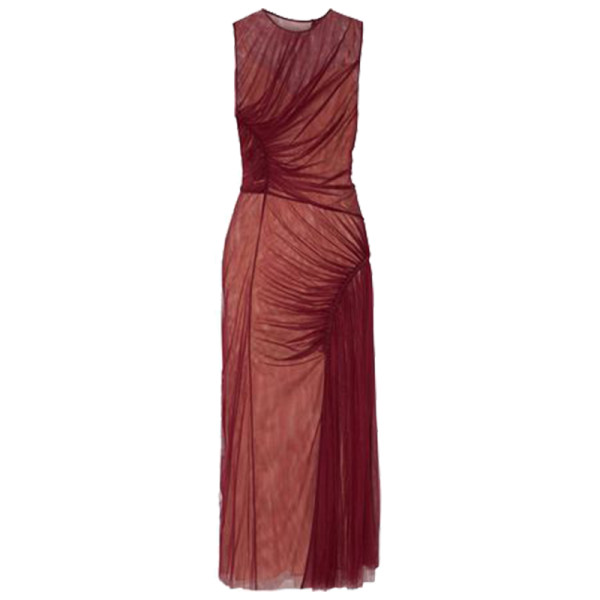 Jason wu ruched silk tulle midi dress