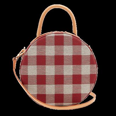 Mansur gavriel circle gingham cotton canvas cross body bag