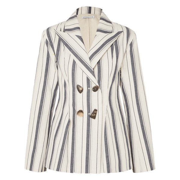 Rejina pyo nicole double breasted striped cotton chambray blazer