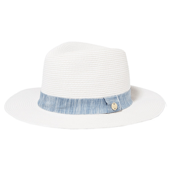 Melissa odabash chambray trimmed woven paper fedora