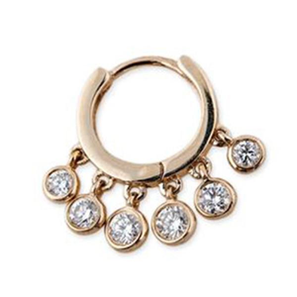 Jacquie aiche single mini diamond shaker hoop earring
