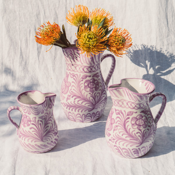 Pomelo casa lila small pitcher with hand painted designs