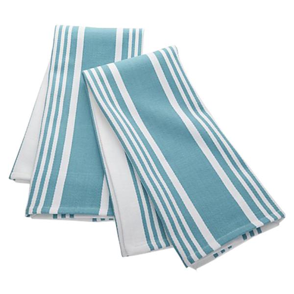 Crate   barrel cuisine stripe aqua dish towels  set of 2