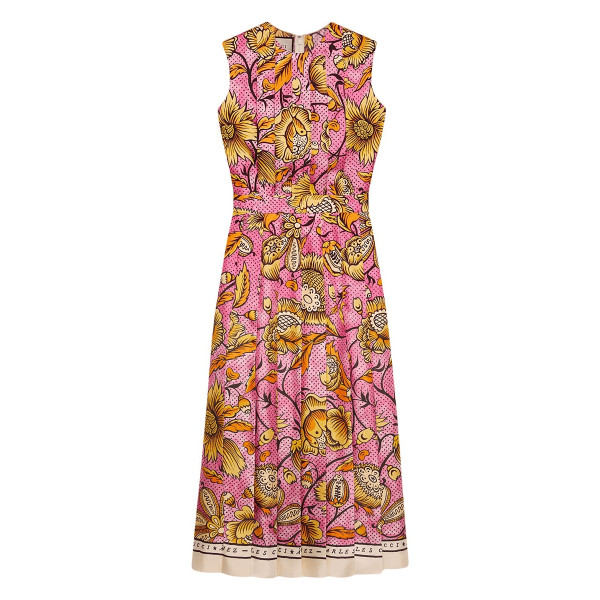 Gucci sleeveless watercolor floral silk midi dress