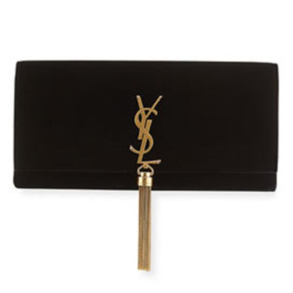 Saint laurent kate monogram velvet clutch bag