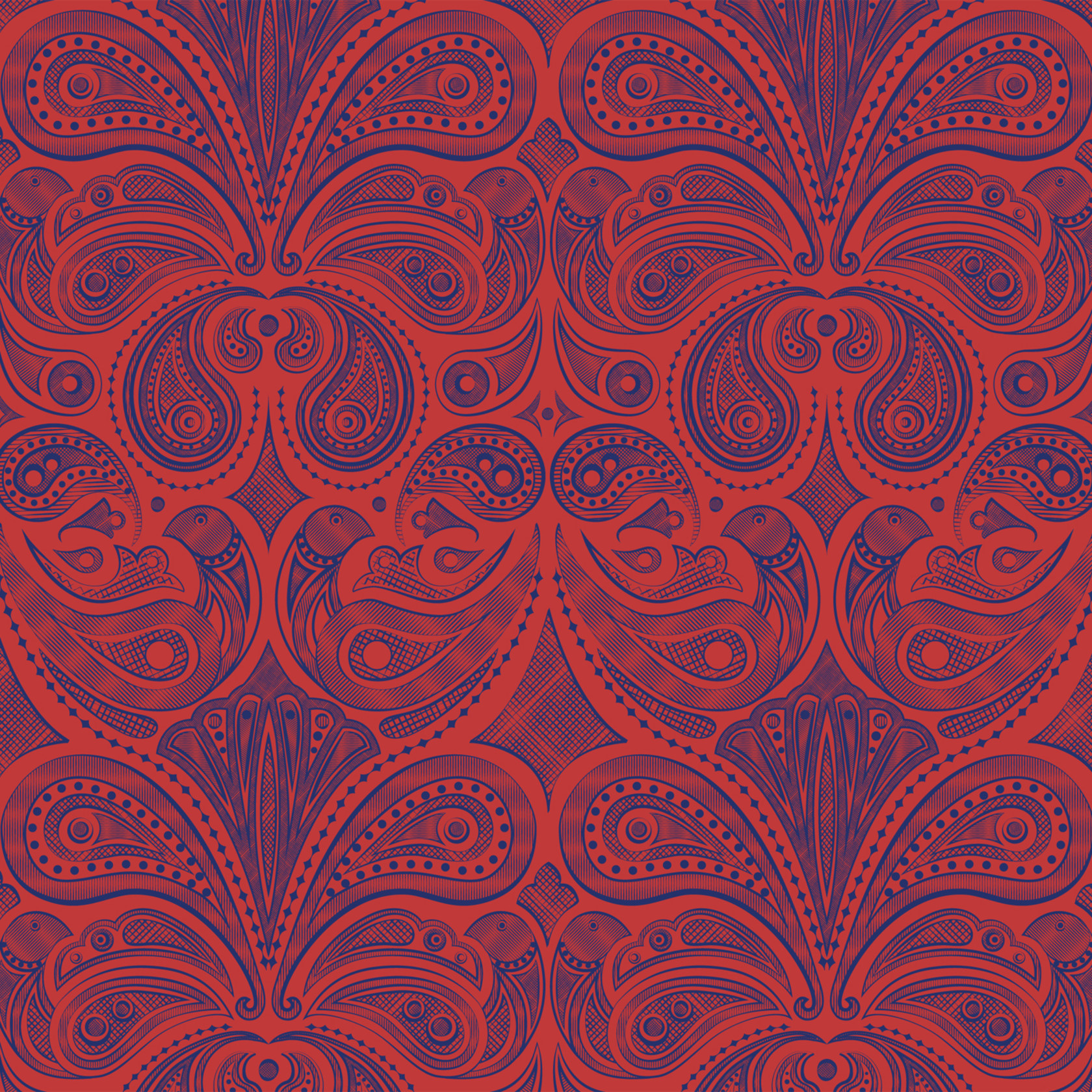 Jonathan adler bird paisley wallpaper  1