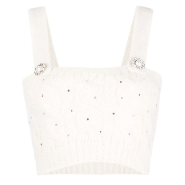 Alessandra rich cropped cable knit top