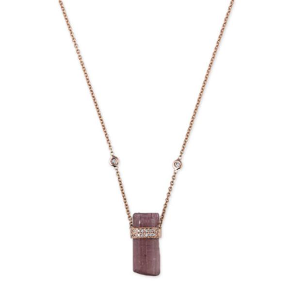 Jacquie aiche pink tourmaline   diamond pendant necklace