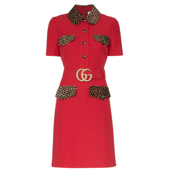 Gucci cady crepe shirtdress with leopard print