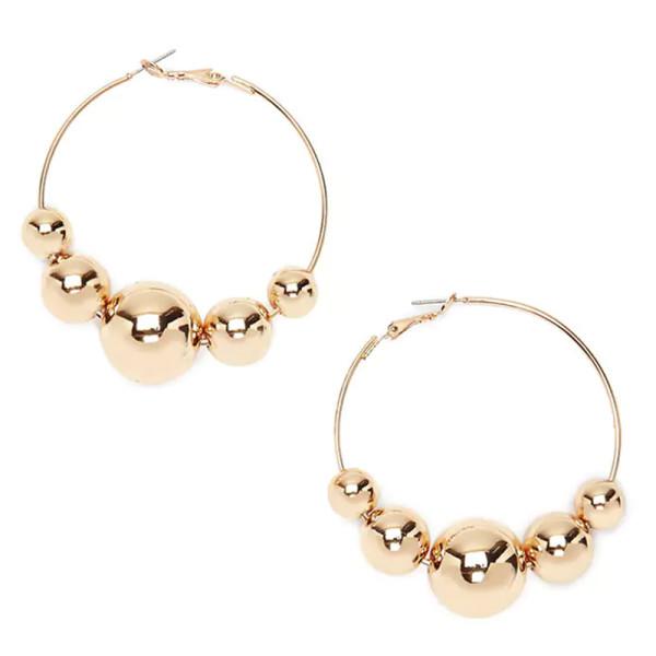 Forever21 beaded drop hoop earrings