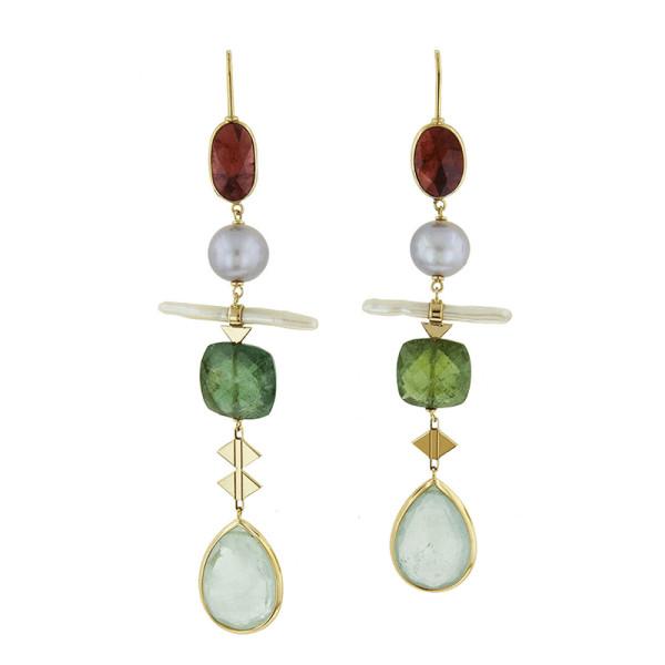 Lito fine jewelry tourmaline  pearl and aquamarine drop earrings in yellow gold