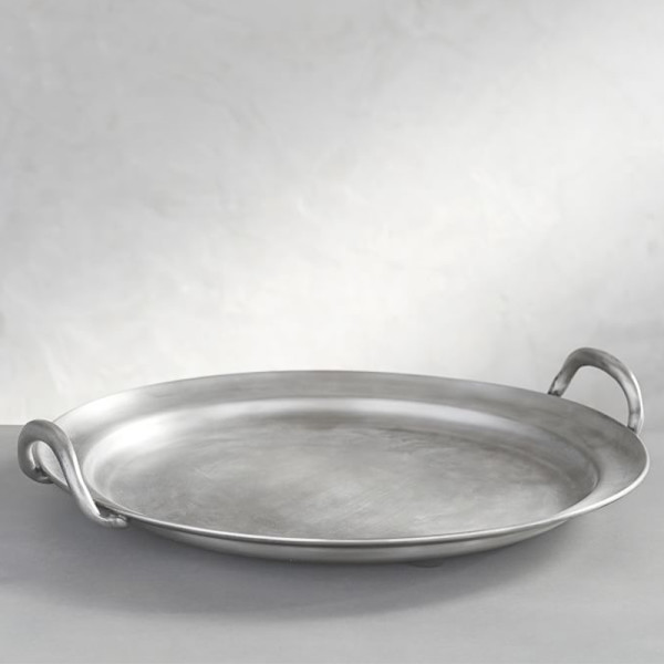 Pottery barn pewter round handled tray
