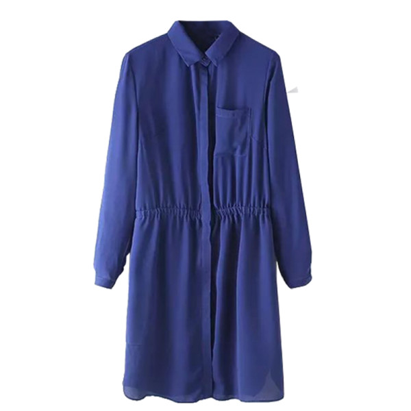 Oasap fashion long sleeve elastic waist shirt dress