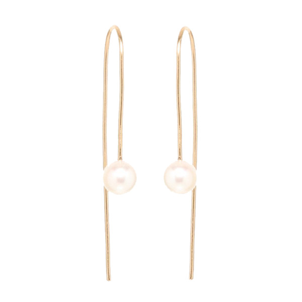Zoe chicco 14k gold pearl thread through earrings