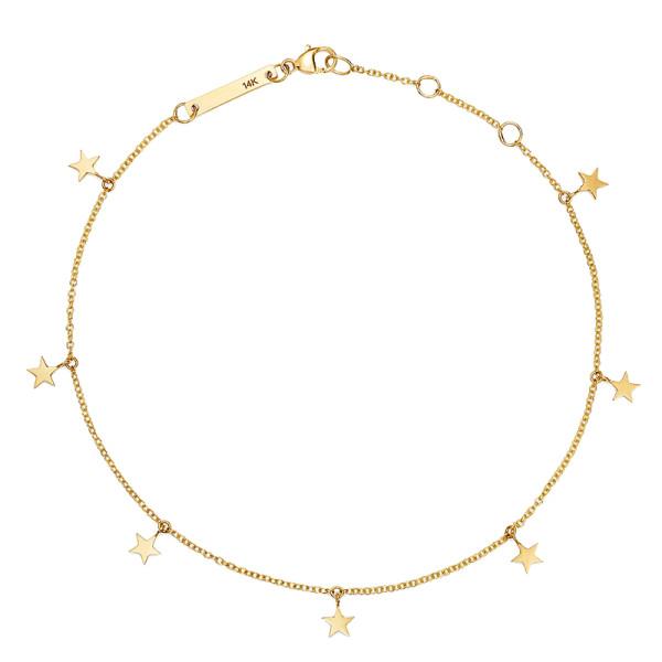 Zoe chicco 14k yellow gold itty bitty star charm ankle bracelet