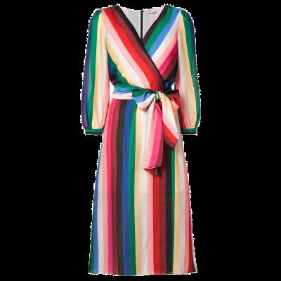 Alice and olivia rainbow stripe wrap dress