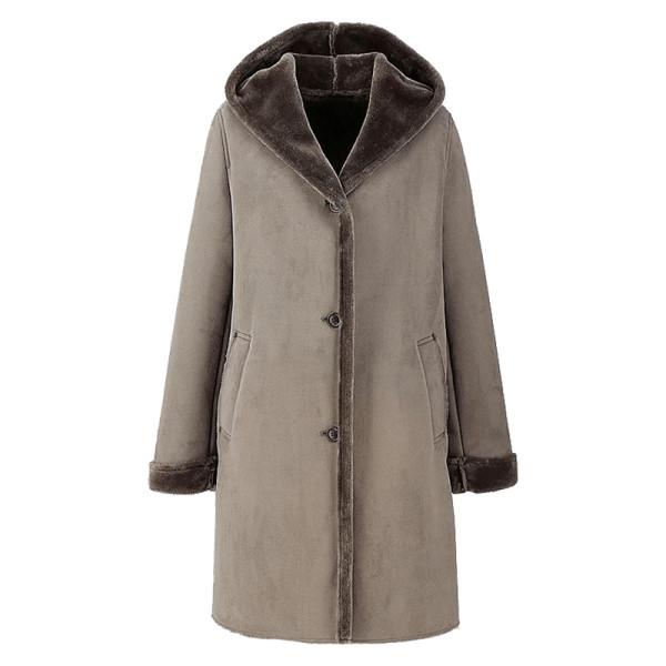 Uniqlo faux shearling hooded coat