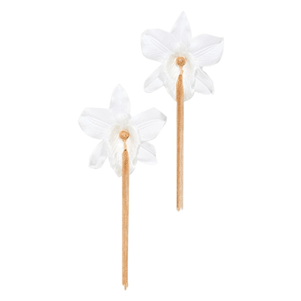 Mallarino orchid chain stud earrings
