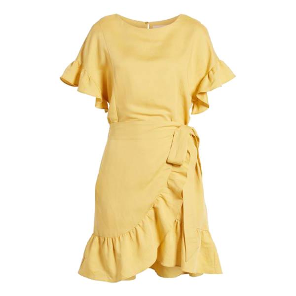 141cbffef9 ASTR the Label - Ruffle Linen Blend Wrap Dress   Story + Rain