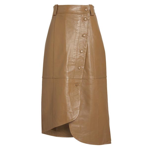 Ganni lamb leather wrap skirt