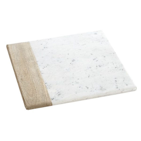 Crate   barrel wood marble square platter