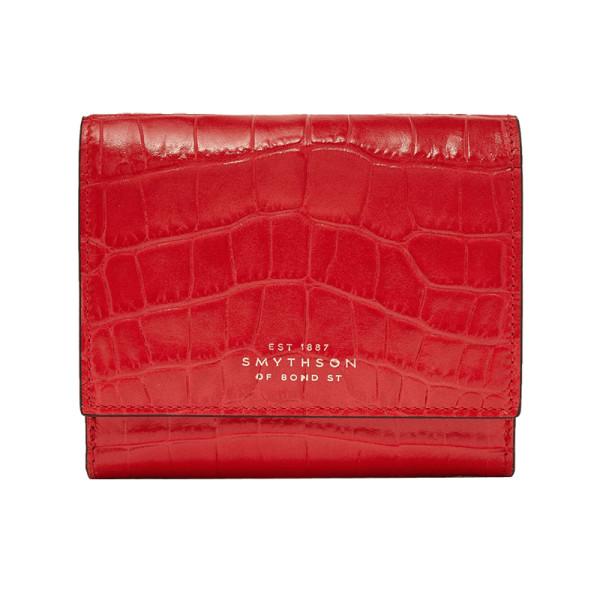 Smythson mara croc effect leather wallet