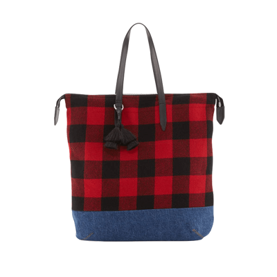 Dries van noten   buffalo plaid   denim tote bag