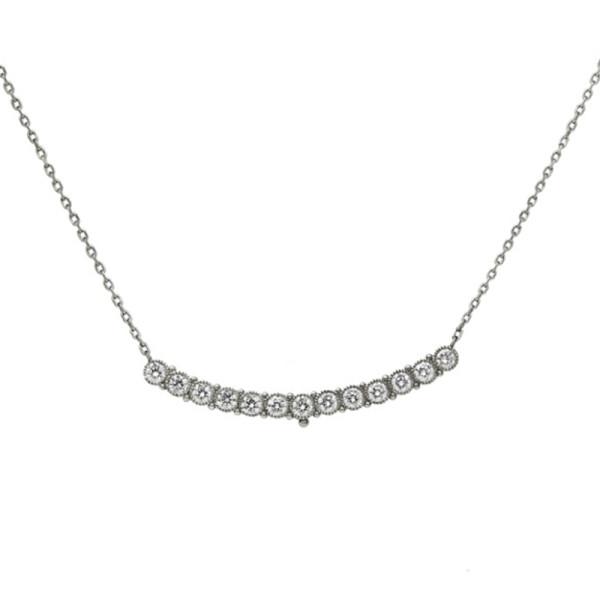 Platinum   diamond scoop necklace