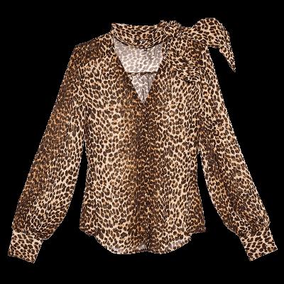 Paige cleobelle leopard print tie neck blouse