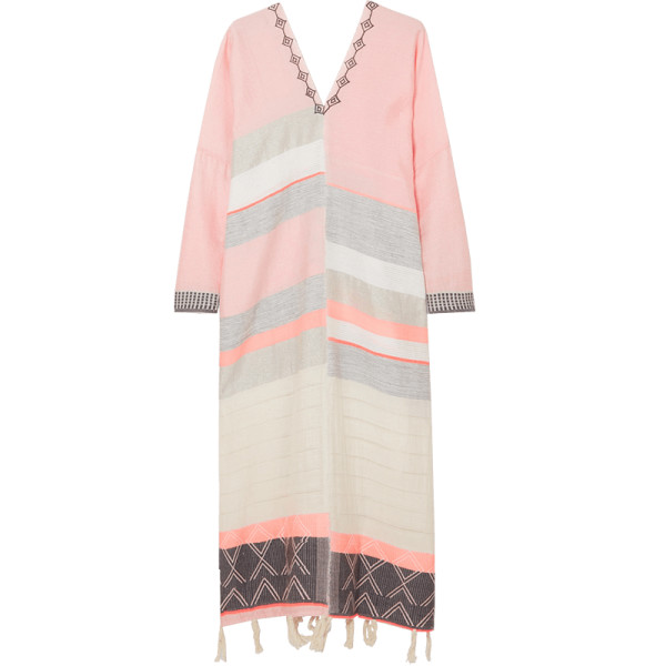 Lemlem tereza embroidered striped  kaftan