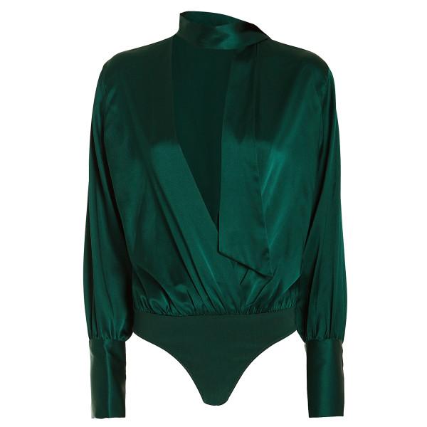 Jonathan simkhai silk charmeuse wrap bodysuit