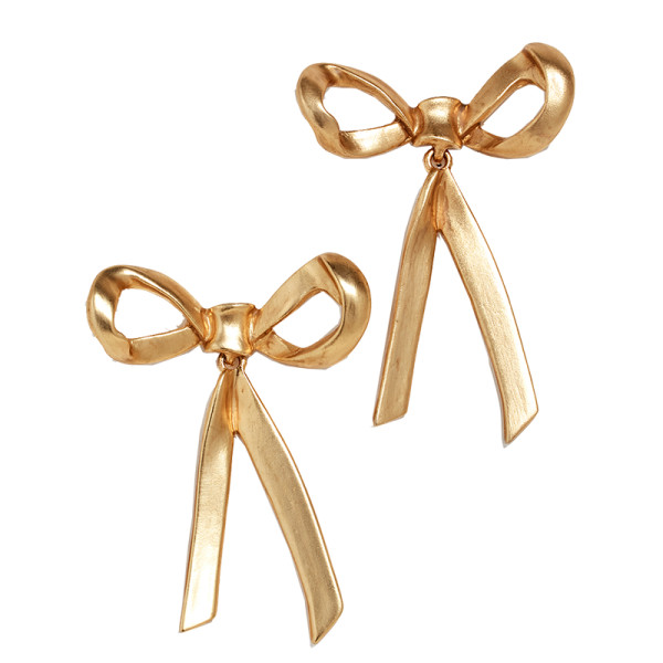 Oscar de la renta metal bow earrings