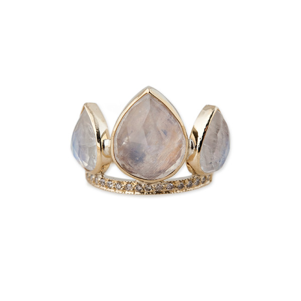Jacquie aiche moonstone petal triple stack ring with diamonds